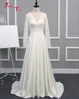Jark Tozr 2018 Chegam Novas Luva Cheia Vestidos de Noiva Hochzeitskleid Com Decote Em V Botão Up Laço de Cetim Bainha Vestidos de Noiva Trouwjurken