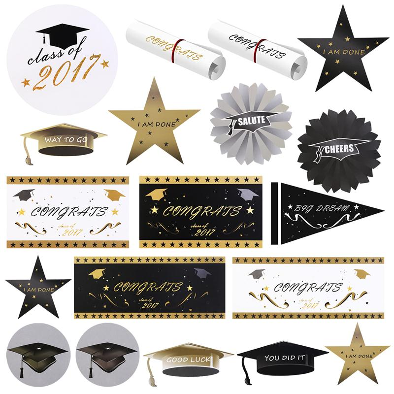 Us 8 16 45 Off 40pcs 2017 Graduation Party Paper Cutout Decoration Graduation Season Cap In Party Hats From Home Garden On Aliexpress Com