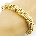 Promotion! Men's Bracelets Gold Chain Link Bracelet Stainless Steel 8mm Width Byzantine Wholesale High Quality BB247
