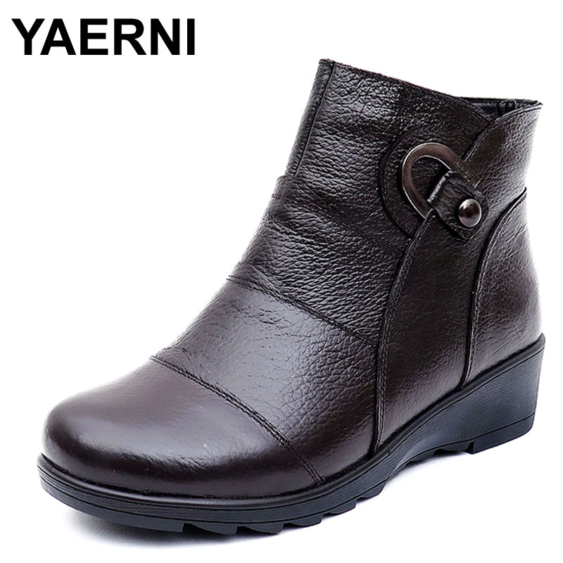 YAERNI Women Boots 2017 Fashion Shoes Woman Genuine Leather Wedges Ankle Boots Winter Casual Snow Boots Women Shoes size 35-43 free shipping women fashion winter shoes genuine leather ankle boots wedges female winter working boots plus size 34 41