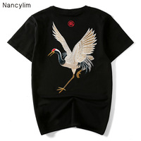 Women and Men T shirt Summer New Chinese Style Retro National Cotton T Shirt Male and Female Embroidered Crane Short Sleeve Tees