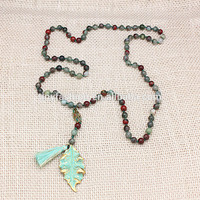 Summer Boho Beach Jewelry Antique Leaf Mala Beads Natural Blood Stone Tassel Tropical Artificial Necklace