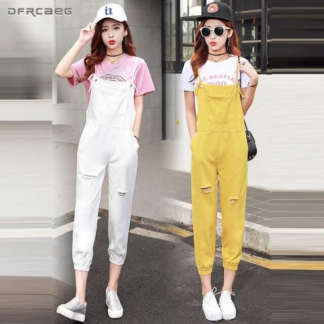 459d0e69d78e Loose Denim Overalls For Women 2018 Spring Autumn Hole Strapless Capris Jumpsuit  Casual Suspenders Jeans Rompers