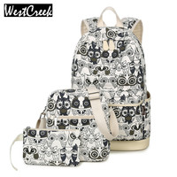 Set Backpack Women Animal Printing Backpack Canvas Bookbags School Bags Three In One Backpack For Girls