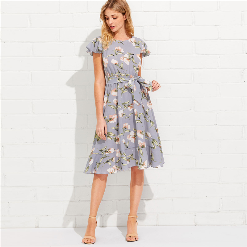 8c7a393d80 SHEIN Tie Neck Ruffle Hem Calico Dress 2018 Summer Fit and Flare ...