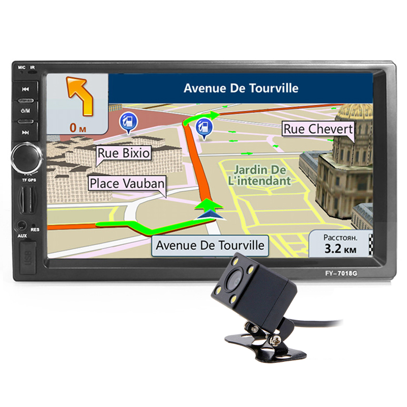 2din Car <font><b>Multimedia</b></font> Player <font><b>GPS</b></font> Navigation Camera Map 7 inch HD Touch Screen Bluetooth AUX Autoradio MP3 MP5 Video Stereo Radio image
