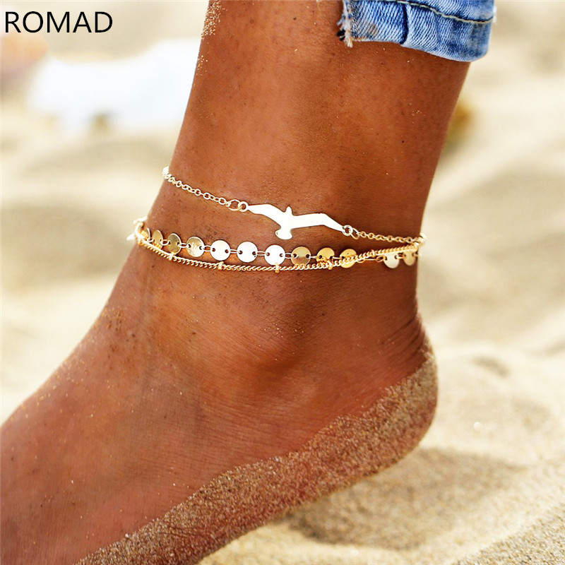 ROMAD 3pcs/set Bohemian Seagull Sequins Anklets For Women Gold Color Anklet on the Leg Beach Foot Ankle Bracelet R4