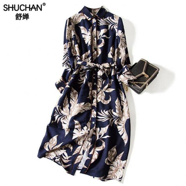 Shuchan Vintage Print Straight Shirt Summer Dress With Long Sleeve 2019 New Mid-calf Sashes Turn-down Collar Dresses A0399