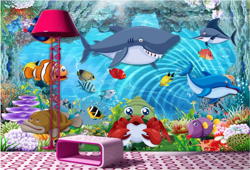 Custom photo 3d wallpaper mural Cartoon shark children room decoration painting 3d wall murals wallpaper for walls 3 d free shipping 3d european style cartoon wall painting children room school amusement decoration forest deer wallpaper mural