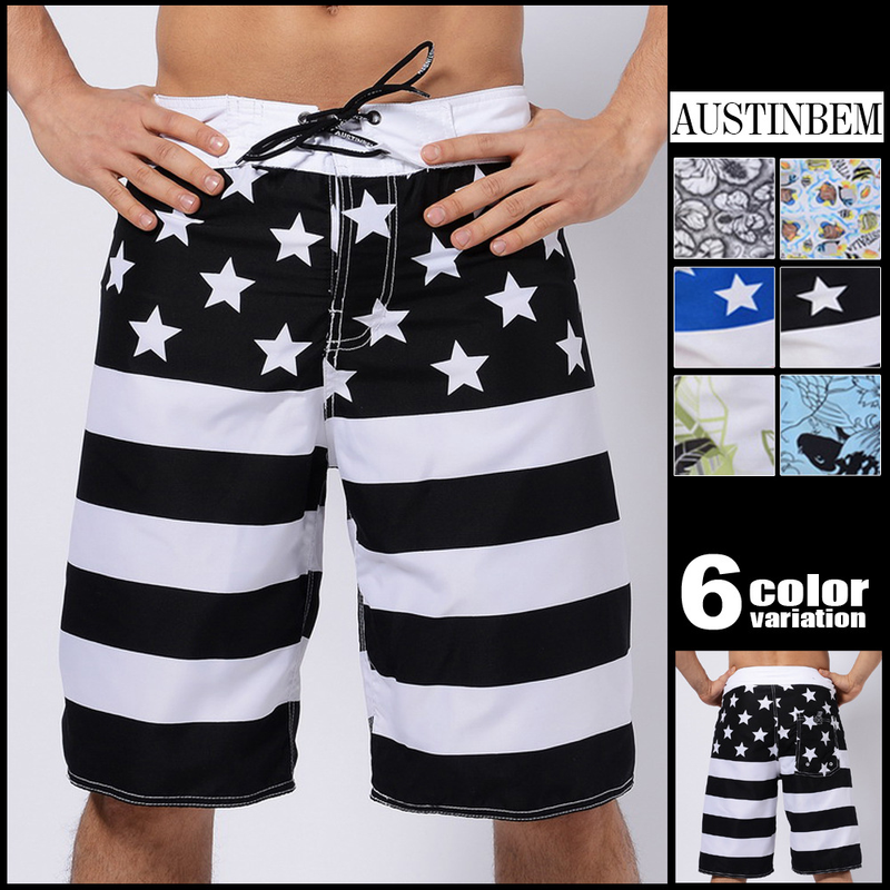 AustinBem Man Swimsuit 2018 Print Mens Pants Mens Beach Shorts Mens Surf Shorts Cropped Pants 301