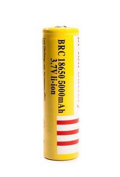 100% абсолютно новый 2 шт./лот BRC18650 5000 мАч желтый Лев Батарея 18650 3,7 в литий-ионный аккумулятор для светодиодного фонарика