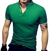 Męska V Szyi T Koszula Mężczyzna Lato Moda Stałe Krótkim Rękawem T koszula Męskie Druku Stojak Kołnierz Slim Fit Męskie Top Trójniki Bawełniane T-Shirt