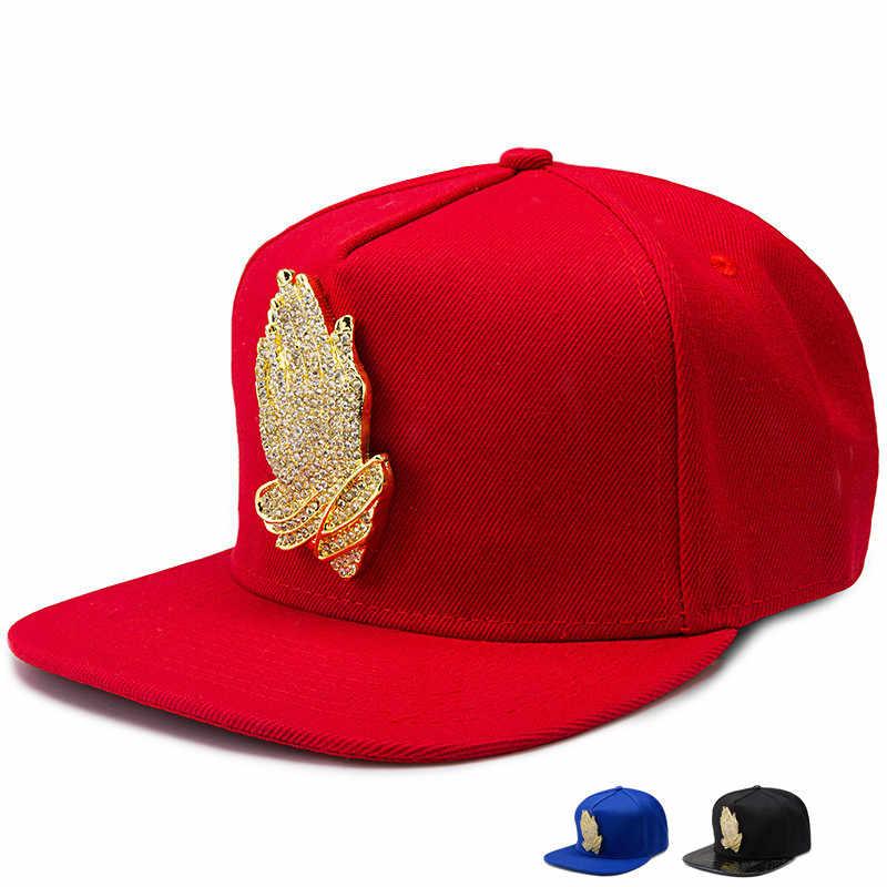 8d761d08233 Golden God Jesus praying hands logo hip hop hats Golf adjustable snapback  men women sports baseball