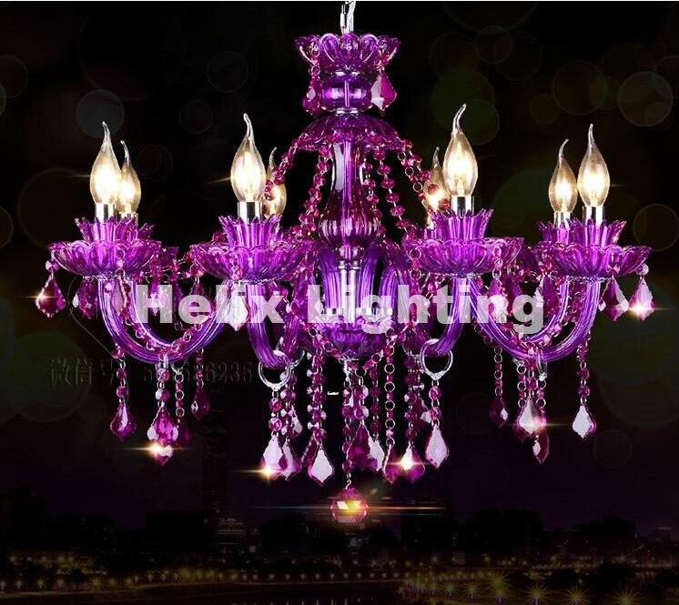 Роскошный фиолетовый Роскошные люстры Светодиодные 6/8/12 + 6l Дизайн фиолетовый хрустальная люстра мода фиолетовый кристалл лампа висит осве