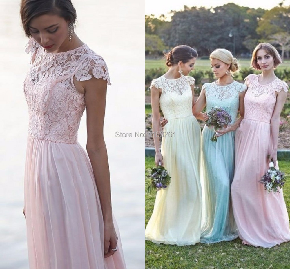 Short pastel bridesmaid dresses choice image braidsmaid dress search list elegant floral chiffon lace with short sleeves modest long pastel bridesmaid dress new real ombrellifo Image collections