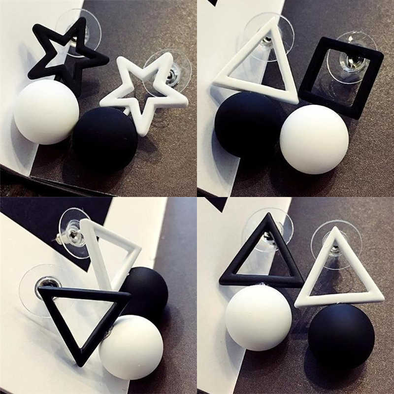 2019 New Women's Fashion Black White Mixed Colors Hollow Square Pentagram Triangle Simple Ball Drop Earrings For Women Jewelry