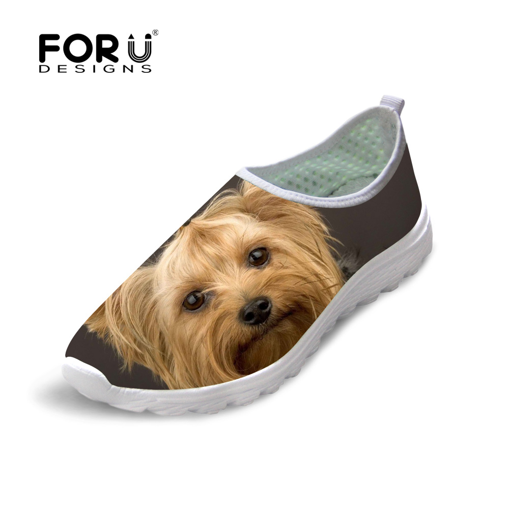 FORUDESIGNS Cute Animal Yorkshire Printed Summer Woman Casual Mesh Shoes Fashion Women Breathable LightWeight Flats Leisure Shoe forudesigns fashion candy color women casual flats shoes summer breathable mesh shoes for ladies leisure loafers female shoes