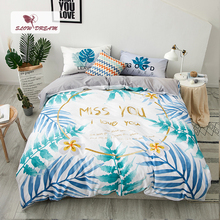 SlowDream Nordic Leaf Bedding Set Gray Bed Linens 100% Cotton Flat Sheet Fitted Pillowcase Bedclothes Adult Bedspread