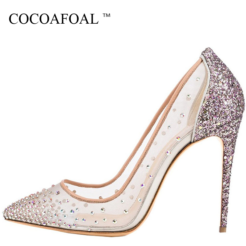 COCOAFOAL Woman Transparent Rhinestone Sandals Pumps Plus Size Sexy Glitter High Heels Shoes Stiletto Clear Heels Wedding Pumps cocoafoal woman mary janes pumps black green stiletto sexy high heels shoes plus size 34 43 genuine leather wedding shoes 2018