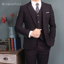 Bridalaffair Dark Purple British Mens Suit Fashion Blazer Wedding Suits For Men 3 Piece Formal Plaid Tuxedo Jacket Pants Vest(China)
