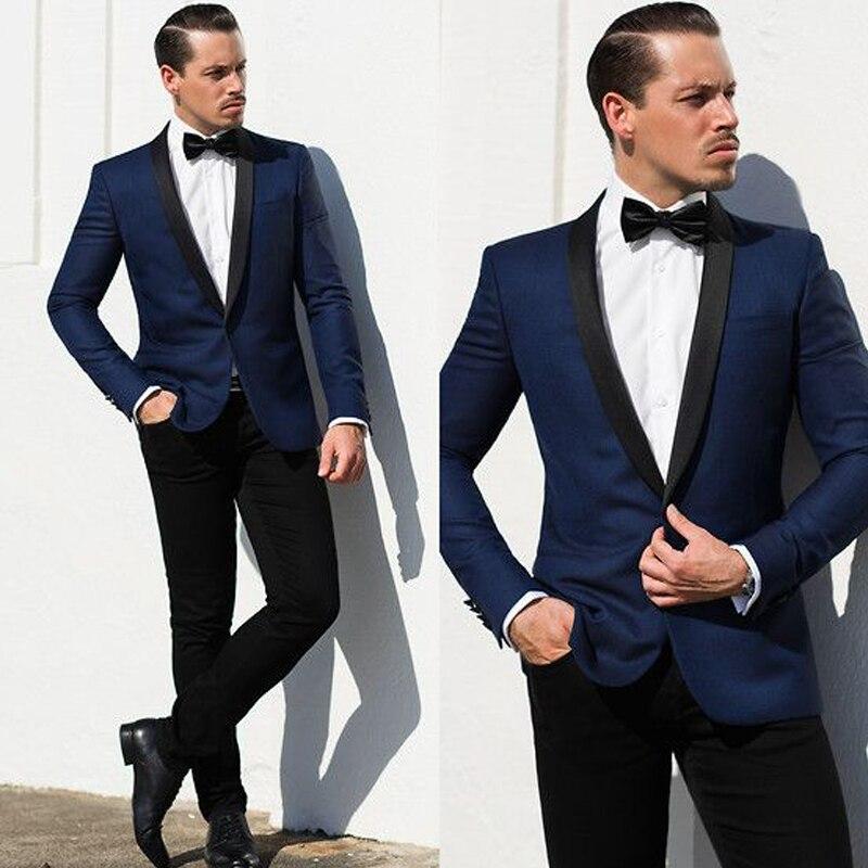 Italian Slim Fit Navy Blue Jacket Mens Tuxedo Two Piece Formal Dress Suit Grooms Suit 2019 Wedding Costume Men's Suit for Groom