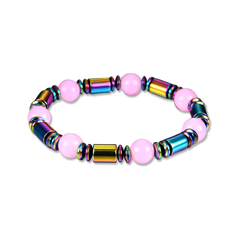 QCOOLJLY Newest Multicolor Hematite Beaded Bracelet Women Manual Weave Magnet Stone Decoration Pink Beads Bracelet Jewelry