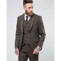 Latest Coat Pants Design Brand Brown Tweed Suit Men Set Slim Fit Custom Wedding Suit Men Blazer Tuxedo 3pcs(Jacket+Pants+Vest)