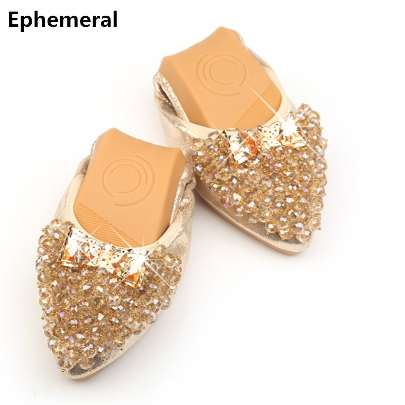 Rhinestone crystal shoes for women ballerina flats pointed toe gold and silver loafers plus size 12 new arrivals American style 2017 new fashion spring ladies pointed toe shoes woman flats crystal diamond silver wedding shoes for bridal plus size hot sale