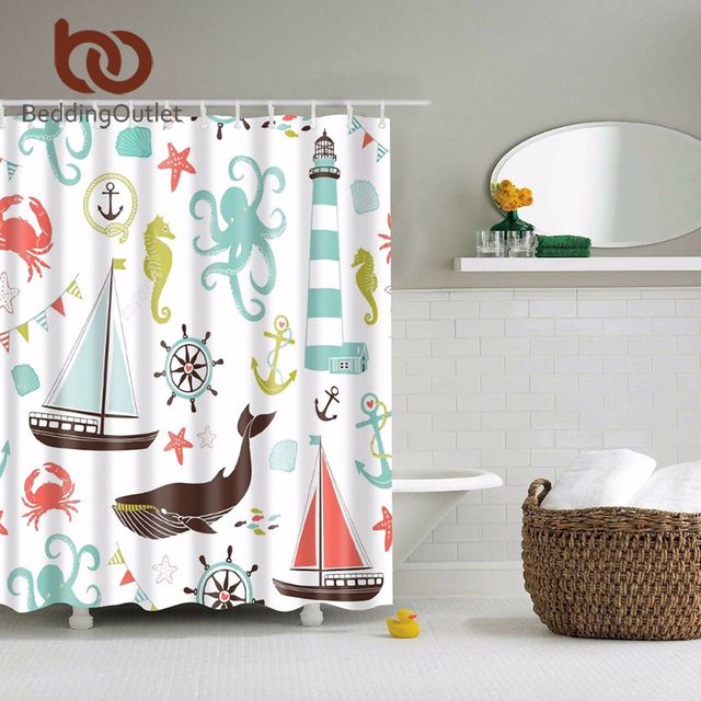 BeddingOutlet Kids Under The Sea Aquatic Octopus Seahorse Starfish Shower Curtain Creatures And Anchor Ocean 71 X Inch