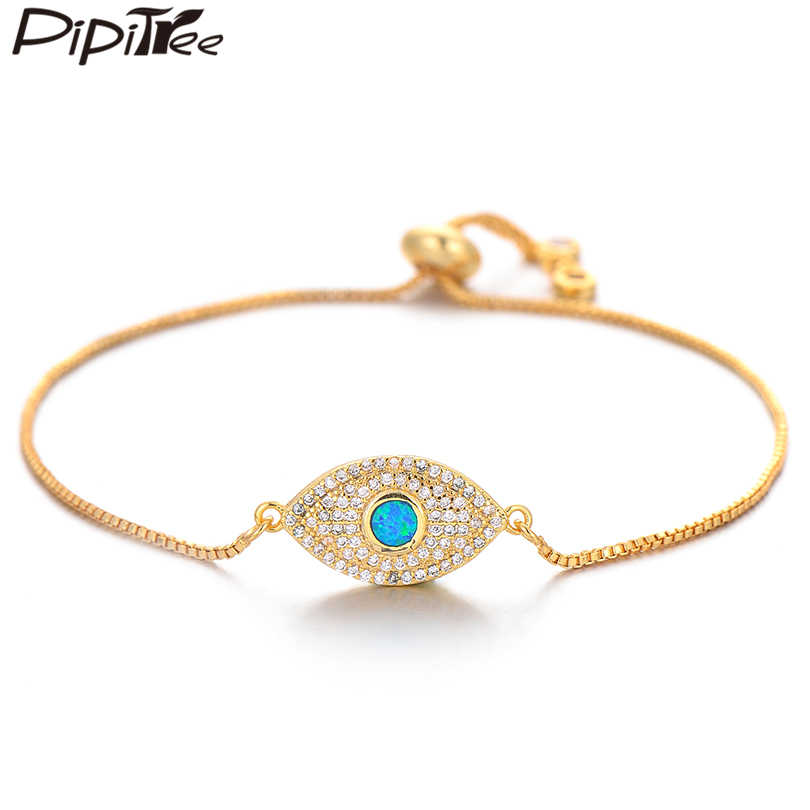 Pipitree אופנה עין רעה קסם צמידי מלא מיקרו סלול CZ זירקון כחול אש אופל צמיד & צמיד לנשים גברים תכשיטי מתנה