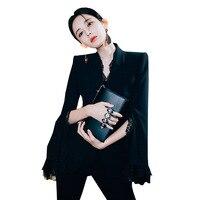 Рабочие модные брючный костюм комплект из 2 частей для Для женщин тонкий черный кружевной Блейзер Куртка и карандаш для брюк офисный костюм