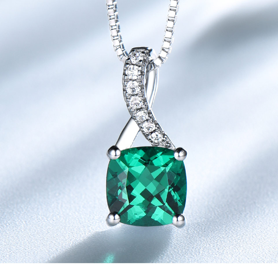 UMCHO Emerald 925 sterling silverNecklace for women NUJ051E-1pc (3)