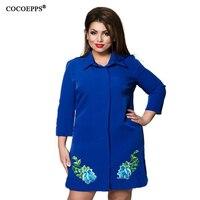 COCOEPPS Elegant Printed Chiffon Women Dresses Big Sizes Casual Loose Dress Long Sleeves Plus Size