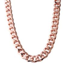 Granny Chic Necklace For Women Men 10-19mm Stainless Steel Rose Gold Color Curb Cuban Chain Womens 7-32 inch