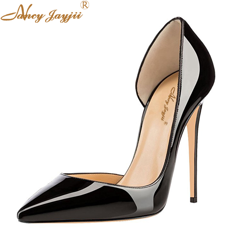 Elegant Black Women Patent Leather Pumps High-heeled Shoes Thin High Heel Korean Shoes Hollow Pointed Stiletto Spring Dress US shinny patent leather high platform stiletto buckle strap women sandals party dress nude black lady pumps high heel dress shoes