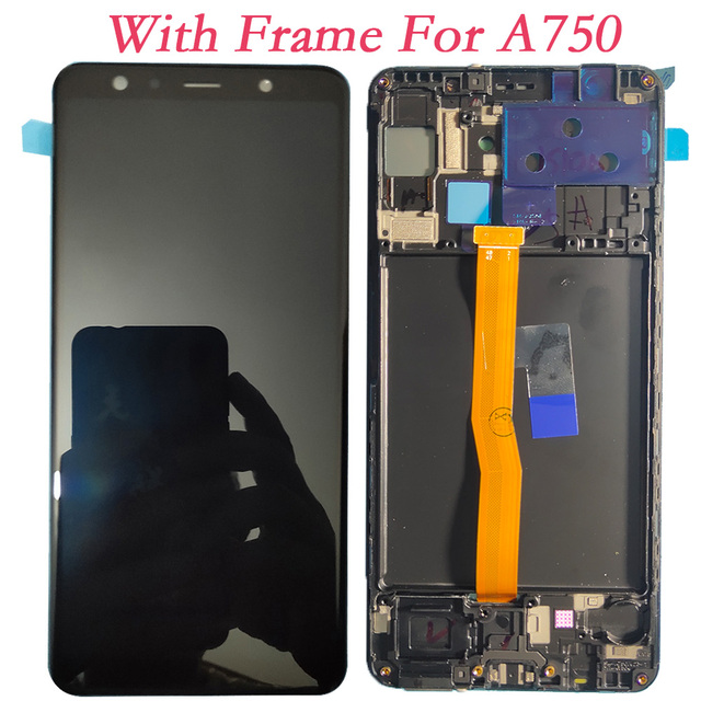 Super AMOLED 6.0 For Samsung Galaxy A7 2018 A750F A750G A750FN Touch Screen Digitizer LCD Display With Frame For Samsung A750