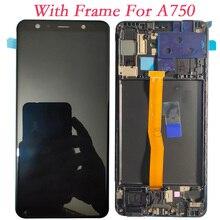 Super amoled 6.0 dla Samsung Galaxy A7 2018 A750F A750G A750FN ekran dotykowy Digitizer wyświetlacz LCD z ramką do Samsung A750