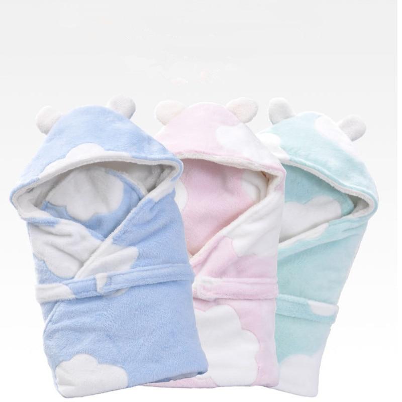 2018 Winter Baby Blanket Envelope Swaddle Wrap Coral Fleece Newborn Sleeper Infant Stroller Wrap Toddlers Baby Swaddling Bag