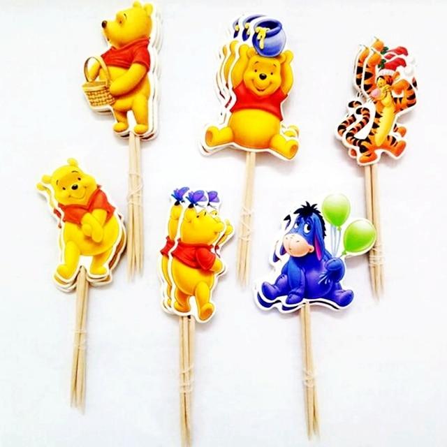 96pcs Tiger Bear Winnie the Pooh Donkey Cupcake Toppers Picks ...