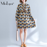 MissLymi Plus Size Women Linen Shirt Dress 2017 Autumn Retro Plaid Print Long Sleeve Beach Tunic
