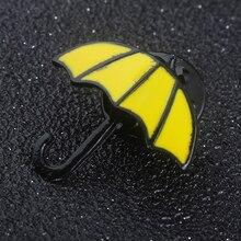 Película de moda rjano HIMYM Cómo Conocí a tu madre paraguas amarillo mujeres Pin broches Alicia en el país de las Maravillas azul cuerno francés los hombres broche
