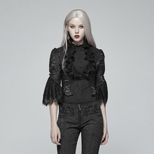 PUNK RAVE Women Gothic Short Coat Victoria Style High Standing Collar Jacquard Bolero Stage Performance Dress