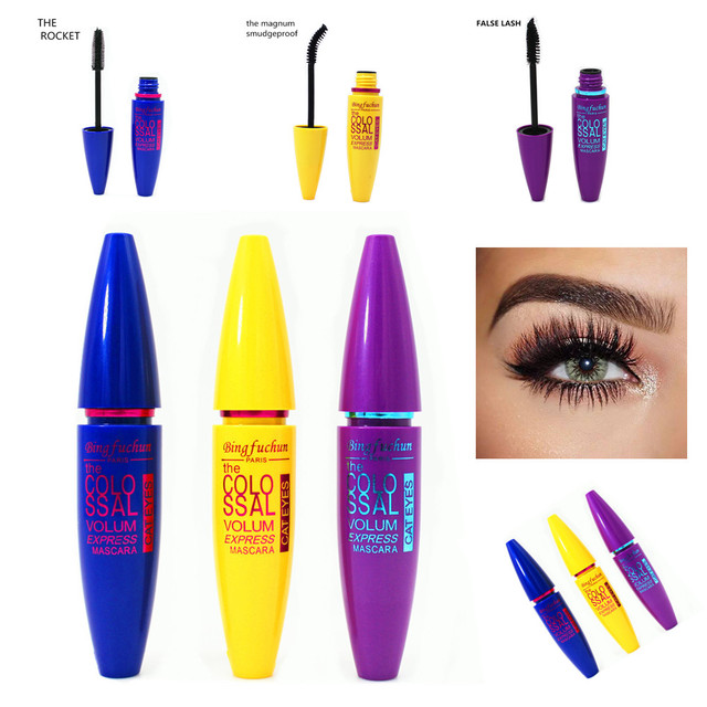 1pc Brand Black Mascara False Eyelashes Colossal Volume Express Make Up Eyes Curling Waterproof rocket magnum false lash mascara 5
