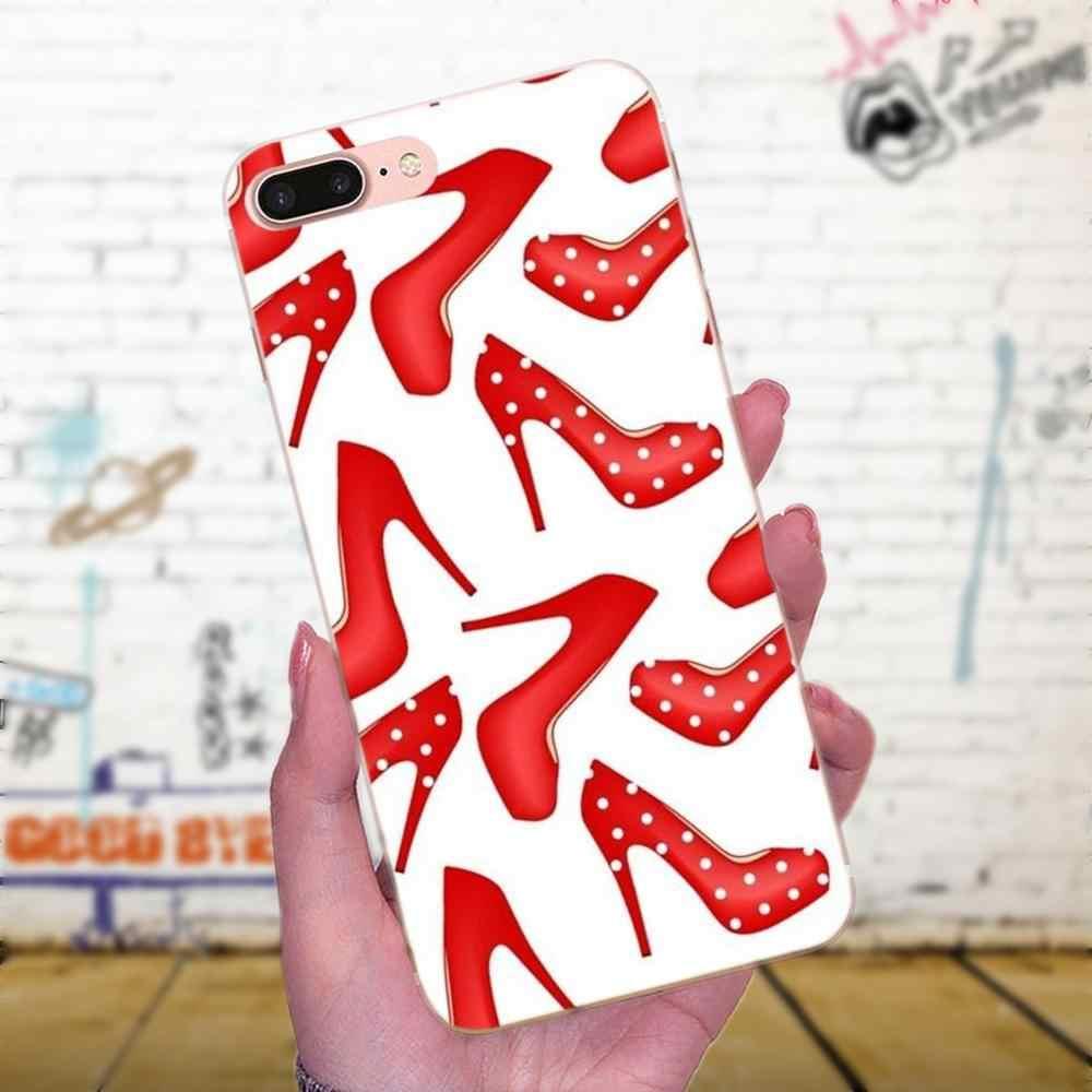 Kırmızı Yüksek Topuk Ayakkabı Yumuşak TPU Kılıf Apple iPhone X XS Max XR 4 4 S 5 5 S 5C 5 S SE 6 6 S 7 8 Artı