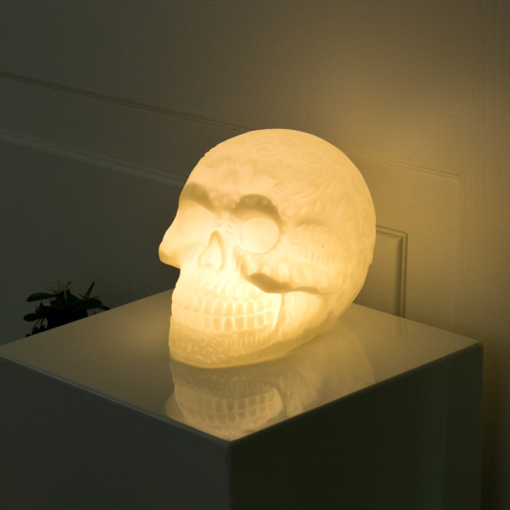 Halloween Skull LED Night Light Festival Home Prop Decoration Warm White Or Colorful Light Decorative Lamp