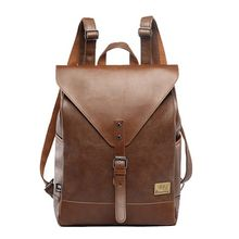 Three Box Men Vintage Backpack PU Leather Leisure Student School Bag Casual Travel Rucksack Business Bags 30 x 11 x 42cm стоимость