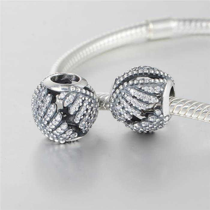 81a09da0244f0 US $13.76 |Fits Pandora bracelets Majestic Feathers Charms Micro Pave  Phoenix Feather Charm New 925 Sterling Silver Bead Jewelry LW613-in Beads  from ...