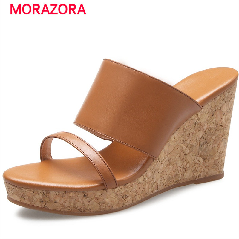 ФОТО MORAZORA Wedges shoes woman fashion contracted summer shoes high heels sandals women genuine leather solid platform shoes