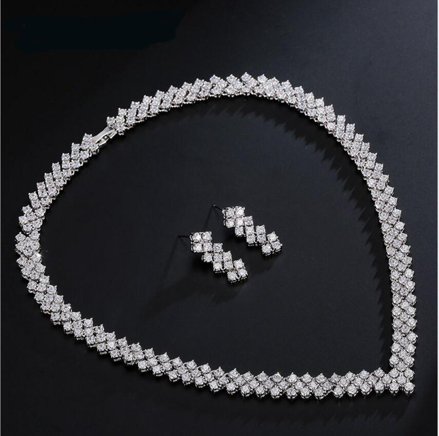 Alamana Women Jewelry Set Exquisite Flower Leaf Design Shiny Rhinestone Bridal Earrings Necklace Head Chain Tiara Jewelry