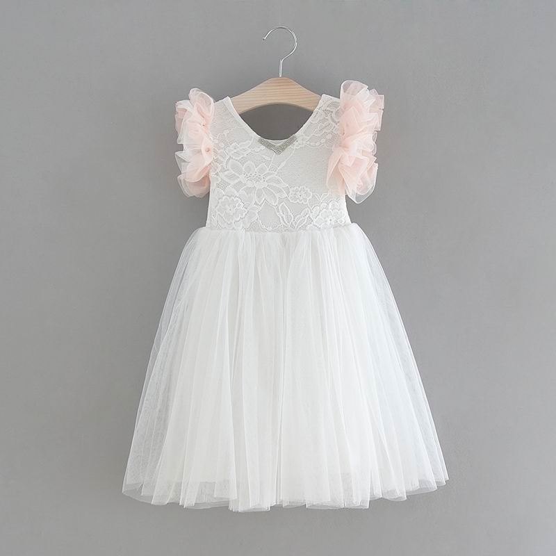 Dresses Retail 2019 New Girl Holiday Dress Lace Flower Ruffle Sleeve Sundress White Princess Dress Children Clothing 2-6 Year E15181 Finely Processed Mother & Kids